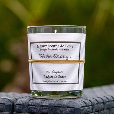 bougie en cire végétale fabriquée en France 100% sans OGM senteur pêche orange
