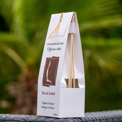 bouquet parfumé, diffuseur rotin 100 ml pour parfum senteur bois de santal