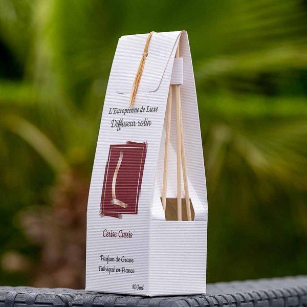bouquet parfumé, diffuseur rotin 100 ml pour parfum senteur cerise cassis