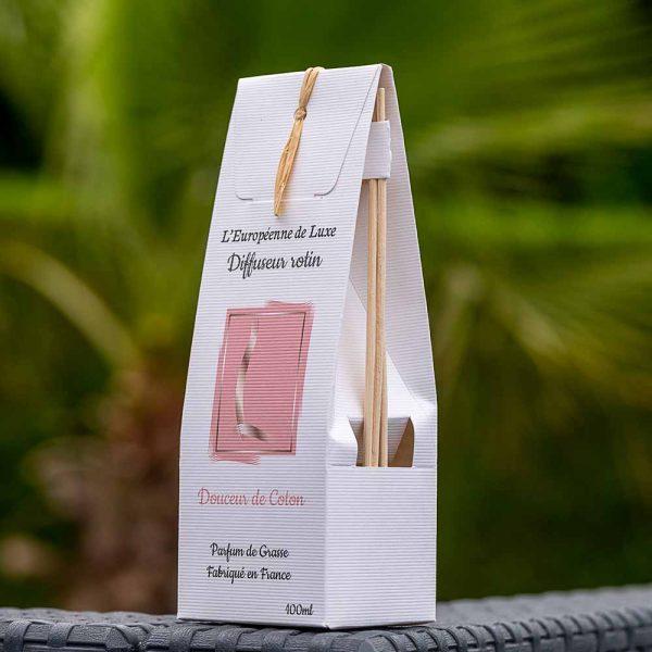 bouquet parfumé, diffuseur rotin 100 ml pour parfum senteur douceur de coton