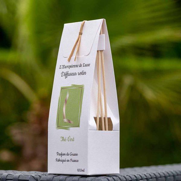bouquet parfumé, diffuseur rotin 100 ml pour parfum senteur thé vert