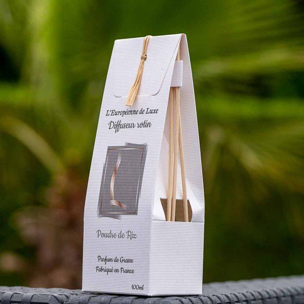 bouquet parfumé, diffuseur rotin 100 ml pour parfum senteur poudre de riz