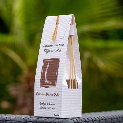 bouquet parfumé, diffuseur rotin pour parfum 100 ml senteur caramel beurre salé