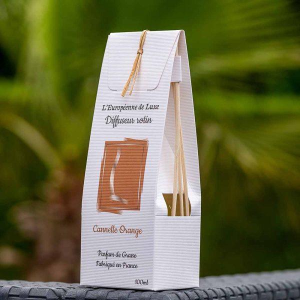 bouquet parfumé, diffuseur de parfum rotin 100 ml senteur cannelle orange