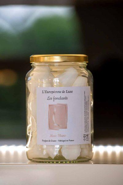 fondants en cire végétale senteur musc blanc, fabriqués en France