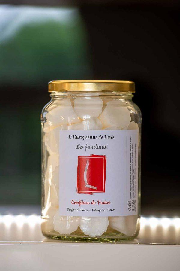 fondants en cire végétale senteur confiture de fraises, fabriqués en France